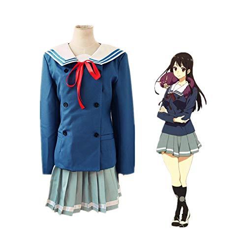LCHENX-Beyond The Boundary Nase Mitsuki Cosplay Disfraz Halloween Cosplay Fiesta Moda Anime Uniformes Escolares Traje de Marinero,Azul,XL