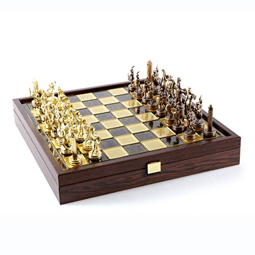 Manopoulos Greek Mythology Chess Set - Brass&Copper - Wooden case Brown Board