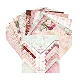 Sanfiyya Origami de Papel de la Vendimia de Papel del Libro de Recuerdos Floral cartulina DIY 15 * 15cm Tarjeta álbum de Recortes de Papel 24PCS