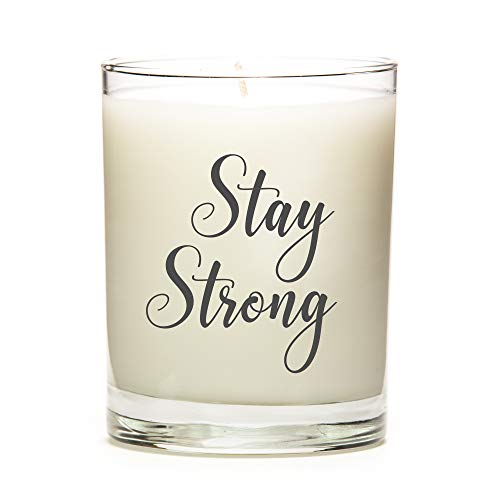 Stay Strong | Custom Candle with Color Options | Multiple Scent Options | 11 Ounce Clear Glass Jar Candle | Coffee Fragrance | Natural Soy Wax