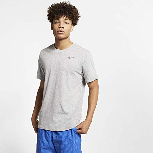 Nike M NK Dry Tee DFC Crew Solid T-Shirt Homme DK Grey Heather/(Black) FR : M (Taille Fabricant : M-T)