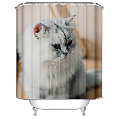 Amody Badewanne Duschvorhang Katze Duschvorhang Waschmaschine Hellgrau Fenster Vorhang Bad 90x180CM