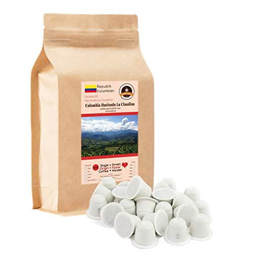Kaffee Globetrotter - 50 Kompostierbare Kaffeekapseln - Nespresso®-Kompatibel - Kaffee Mit Herz - Colombia Hacienda La Claudina - Spitzenkaffee aus Kolumbien - Fair Gehandelt
