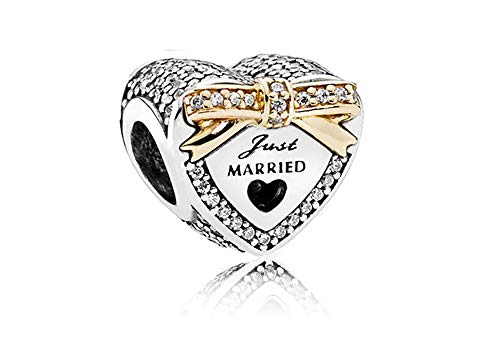 MiniJewelry Women Love Heart Just Married Wedding Charm for Bracelets fits Pandora Charms Bracelets Bow Cubic Zirconia Sterling Silver Charm for Bride Wife Women Sisters