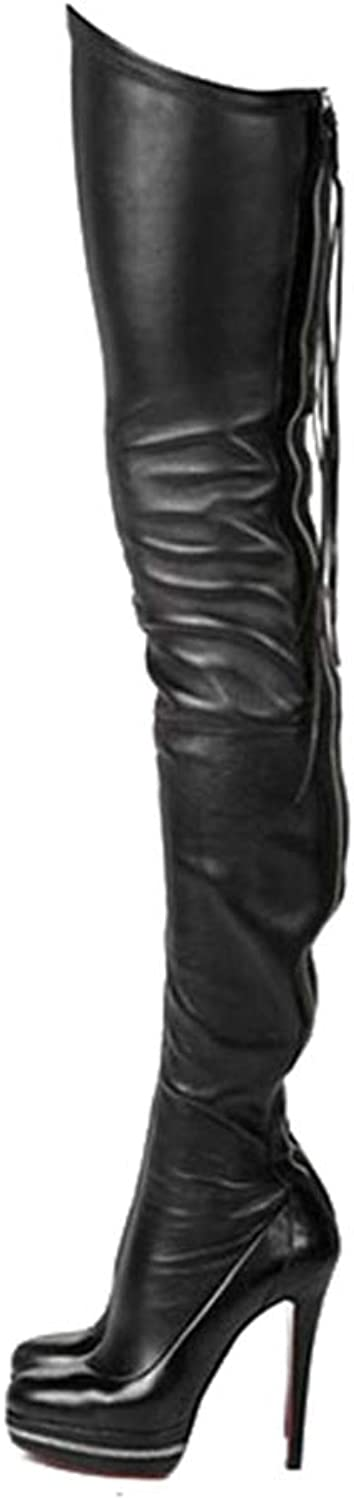 Winter Boots Stretch PU Leather Over The Knee High Sexy Ladies Party High Heels Platform shoes Black shoes