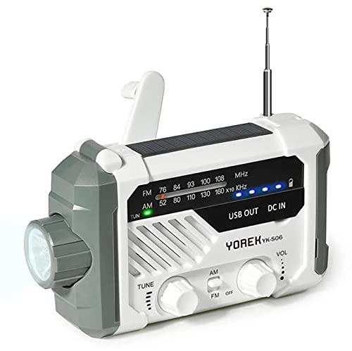 YourBooy Wind Up Solar Am Radio FM, Radio Solar A Batería con Manivela con Pantalla LED Y Linterna Brillante, Cargador De 2000 Mah, Alerta SOS