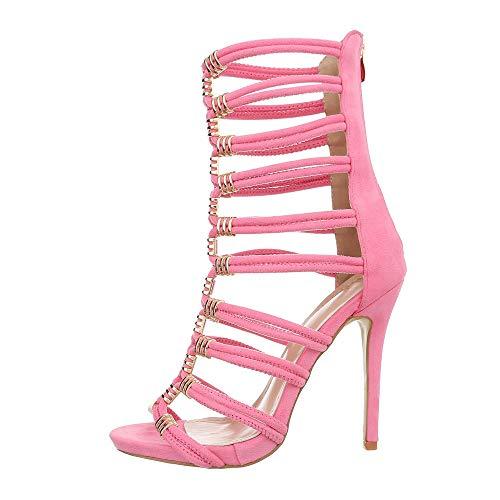 Ital-Design Damenschuhe Sandalen & Sandaletten High Heel Sandaletten Synthetik Rosa Gr. 38
