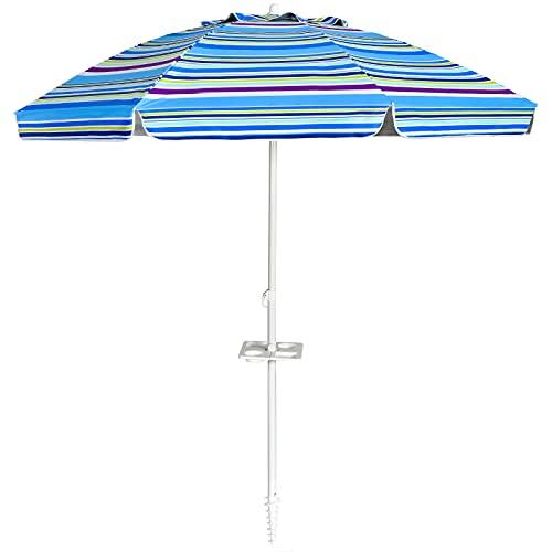 COSTWAY Ombrellone da Spiaggia 2,2 m, Ombrellone Tondo con Protezione Solare, Ombrellone Portabile con Borsa di Trasporto (Blu)