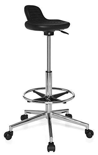 hjh OFFICE 665160 Sgabello da lavoro TOP WORK 03 nero, senza braccioli, robusto, con poggiapiedi, regolabile in altezza, sedia da lavoro, base cromata, ergonomica, facile da pulire