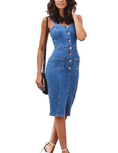 Las Mujeres Bodycon Vestidos De La Correa De Espagueti De Verano Casual Jean Vestido Midi Vaqueros Azul L