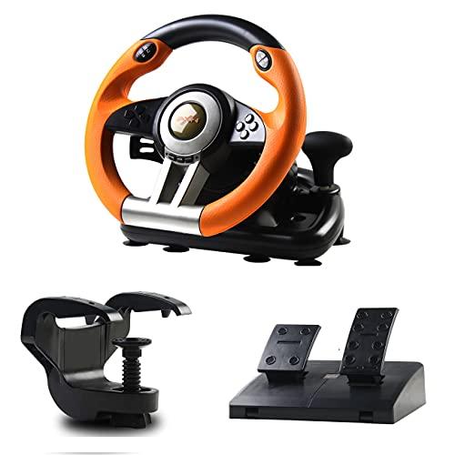 PXN V3 Volante da corsa da gioco 180 ° Volante da gioco universale USB per auto da corsa con pedali e paddle del cambio per PC Windows, PS3, PS4, Xbox One, Nintendo Switch (arancione)