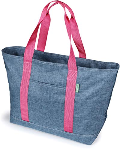 Premium Tote Bag For Women Or Men. X-Large Canvas Style Tote With Fold Away Zipper Top – Best Shoulder Bags For Gym, Work, Shopping, Teachers And Nurses – Stylish Utility Tote For Daily Use (Blue)
