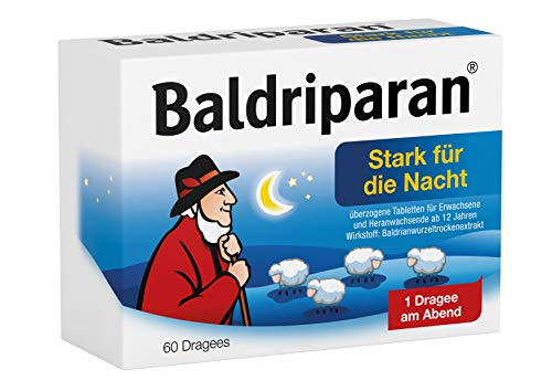 Baldriparan Stark für die Nacht, Pflanzliches Arzneimittel mit hochdosiertem Baldrianwurzel-Trockenextrakt, Bewährte Dragees bei nervös bedingten Schlafstörungen, 60 St.