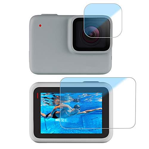 LARRITS 2 Pacchi Protezione dello schermo in vetro temperato Pellicola protettiva per GoPro Hero 7 Argento/Bianco