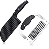 2 Piece Crinkle Potato Vegetable Cutters, Stainless Steel Blade Wavy Slicer Crinkle Cutter, Wavy Crinkle Cutting Tool Salad Chopping Knife and Vegetable French Fry Slicer