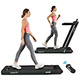 Goplus 2 in 1 Folding Treadmill, 2.25HP Under Desk Electric Treadmill, Installation-Free with Bluetooth Speaker, Remote Control and LED Display, Walking Jogging for Home Office Use (Dark Green)