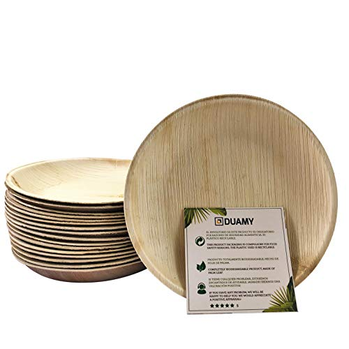 Platos redondos de hoja de palma desechables. 20 platos biodegradables Ø 15 cm. Vajilla ecológica para eventos, bodas, cumpleaños… 100 % fabricados con materiales naturales, sin químicos abras