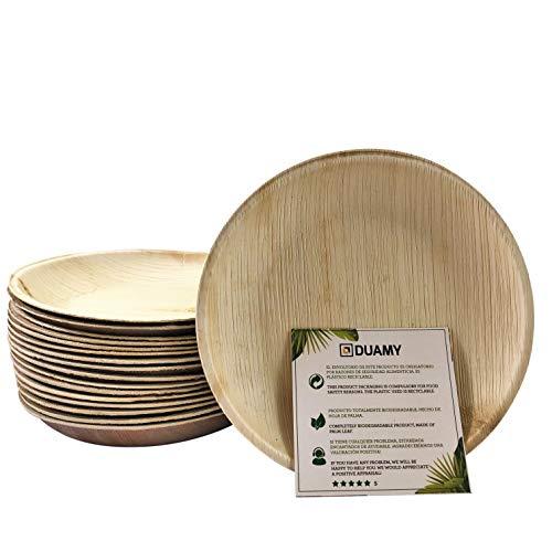 Platos redondos de hoja de palma desechables. 20 platos biodegradables Ø 15 cm. Vajilla ecológica para eventos, bodas, cumpleaños… 100% fabricados con materiales naturales, sin químicos abrasivos.