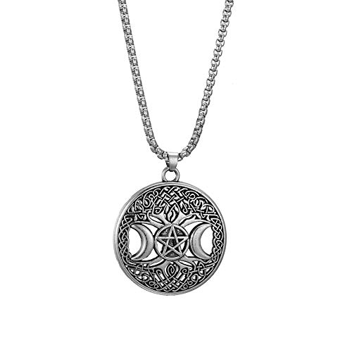 Collar con colgante de árbol de la vida de la diosa de la luna triple pentagrama Wiccan