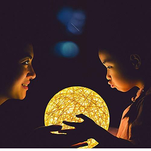 Luz Nocturna Noche Dormir Lámpara Protector ocular 5 etapas que atenúan la luz nocturna USB alimentado Ratten Handcraft Pantalla Se adapta a la cama del dormitorio de la cabecera del dormitorio