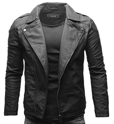 Crone Theo Herren Lederjacke Ecoleder Basic Biker Jacke aus weichem Ecoleder (L, Matt Schwarz (Ecoleder))