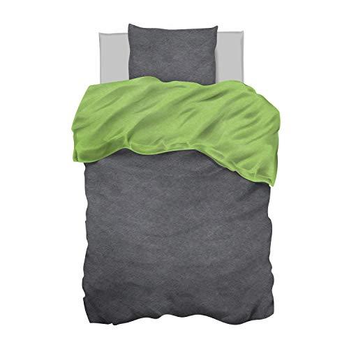 Aminata Kids - Bettwäsche 135 x 200 Uni grün Einfarbig Uni-Farben-Motiv Zwei-farbig-e Baumwolle anthrazit dunkel-grau dunkel-grün Wende-Bettwäsche-Set Jugendliche Mädchen Jungen