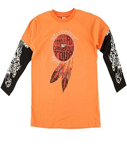 Ed Hardy Big Boys Graphics Long Sleeve Crew Neck T-Shirt - Orange - XL
