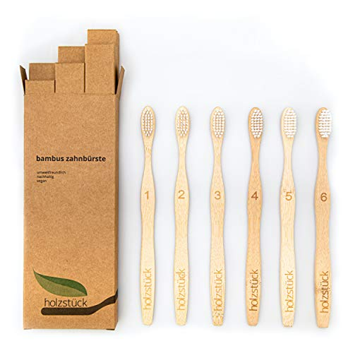 6er Pack - Bambus Zahnbürsten - Nachhaltig - Biologisch Abbaubar - Vegan - Optimierter Bürstenkopf - (hart)