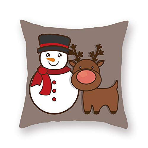 XINRJY Nordic Christmas Fawn Printed Pillow Cover, Cafe, Bedroom, Living Room, Car Cushion Cover