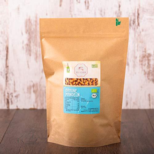 süssundclever.de® | Bio Mandeln | 1 kg | Ernte 2020 | unbehandelt und naturbelassen | plastikfrei und ökologisch-nachhaltig verpackt | braune Mandeln