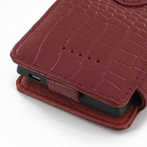 PDair Handarbeit Leder Book Hülle for Huawei Ascend W1 (Red Crocodile Pattern) - 3