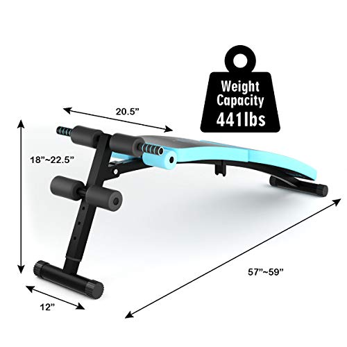 Goplus Sit Up Bench Adjustable, Foldable Abdominal Training Workout Slant Bench, Decline Curved Ab Bench with 4 Adjustable Height Settings (Blue)