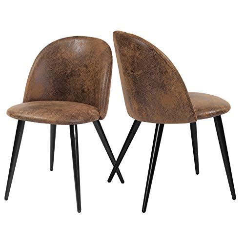 FurnitureR Conjunto de 2 sillas de Comedor Vintage de Cuero marrón Antiguo PU Silla de Asiento de cojín rústico con Patas de Metal...