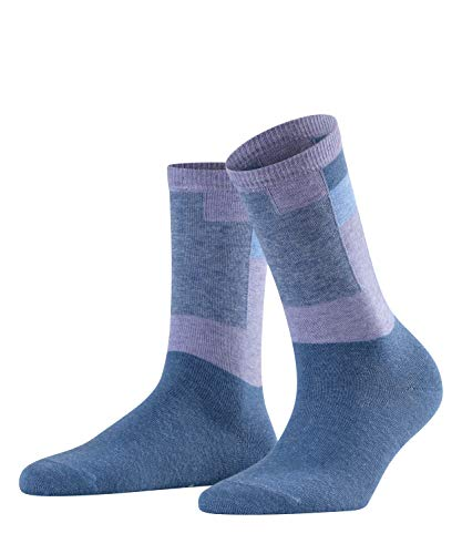 FALKE Damen Socken Marble Brick, Baumwolle/Schurwollmischung, 1 Paar, Blau (Blueb.Peel 6220), Größe: 35-38