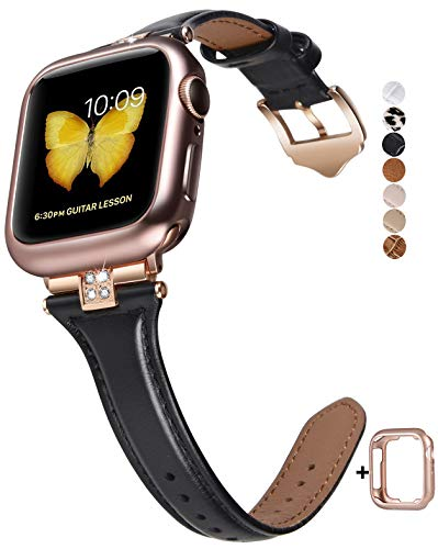 JSGJMY Slim Leather Bands Compatible with Apple Watch 38mm 40mm 42mm 44mm Women Top Grain Leather Strap with Diamond Rhinestone for iWatch SE/Series 6/5/4/3/2/1 (Black/Rose Gold, 38mm/40mm)