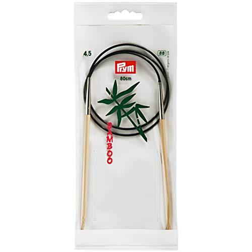 Prym 221507 Rundstricknadeln, 80 cm, 4,50 mm Rundstricknadel, Bambus, Natur, 4,5 mm