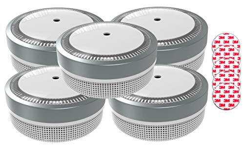 Jeising Mini Rauchmelder RWM100 Grau 5er Set mit Klebepad 3M Premium selbstklebend - 10 Jahres Batterie - VDs