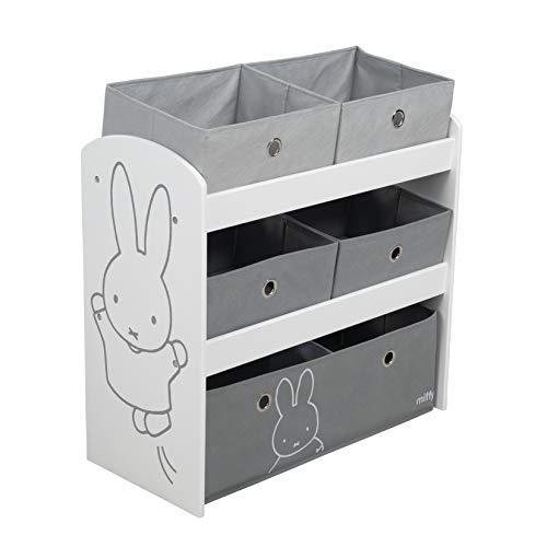 roba Spielregal Miffy, Spielzeugregal mit fünf Stoffboxen für Kinder, Aufbewahrungsregal fürs Kinderzimmer, Spielregal für Jungen und Mädchen