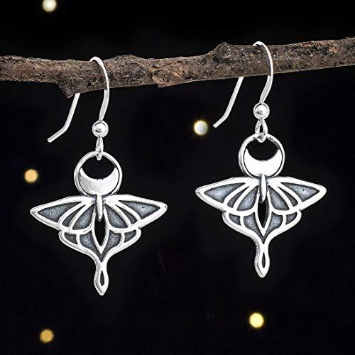 Sterling Silver Luna Moth Earrings - Double Sided - Handmade, Solid .925