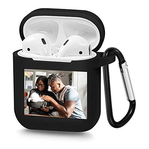 Diseña tu propia funda Airpods con foto y texto personalizados, cubierta de TPU suave personalizada, compatible con la funda Airpods de 1ª y 2ª generación (negro).