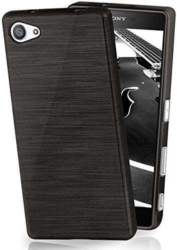 MoEx® Funda de Silicona con Aspecto Aluminio Cepillado Compatible con Sony Xperia Z5 Compact en Noir