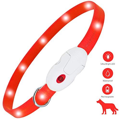 Kolpop oplichtende halsband, USB oplaadbare LED-halsband voor honden met 3 standen, modieuze waterdichte knipperende halsbandverlichting voor kleine, middelgrote en grote honden en katten (rood)