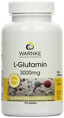 L-Glutamin Kapseln - 3000mg L-Glutamin pro Tagesdosis - vegan & hochdosiert - Freie Form - 120 Kapseln
