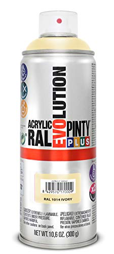 PINTYPLUS EVOLUTION 618 Pintura Spray Acrílica Brillo 520cc Ivory, Crema Ral 1014, Estándar
