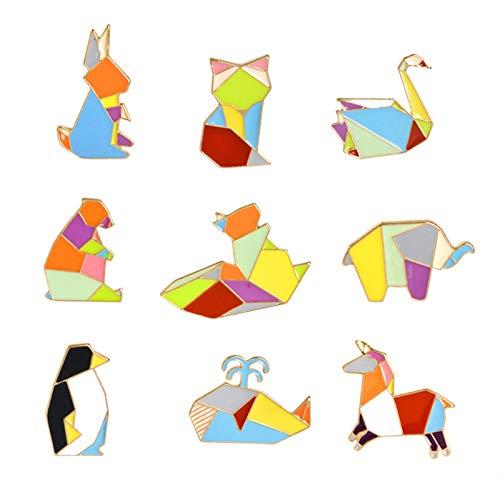 Zfwlkj Broche Animal fijaron Perro Fox Gato Conejo Abeja Bird Panda Origami Animales Esmalte Insignas 3-9pcs Broche Animal de la Historieta for los Hombres de Las Mujeres (Metal Color : Style9)