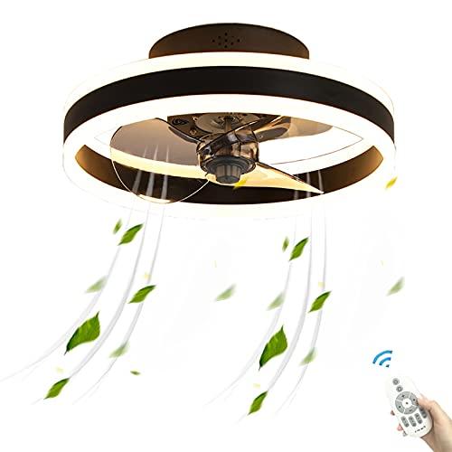 48W Dormitorio Negro Lámpara Ventilador de Techo Dormir con Luz LED Luces y Mando a Distancia Ultra Silencioso Potente Temporizador Modernos Metalico Turbo Regulable Infantil Habitacion Oficina Casa