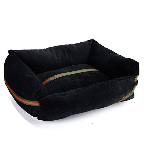 Cotton Dog Bed Mat Cat Sofa Pets Beds House for Small Large Dogs Bed Waterproof Pet Puppy Beds Dog Accessories XR0001,Black,S 40x31cm