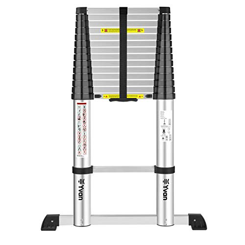 Yvan Telescoping Ladder with Stabilizer Bar, 17 FT One Button Retraction Aluminum Telescopic Extension Ladder,Slow Down Design Multi-Purpose Ladder for Household Daily or Industrial,330 Lb Capacity