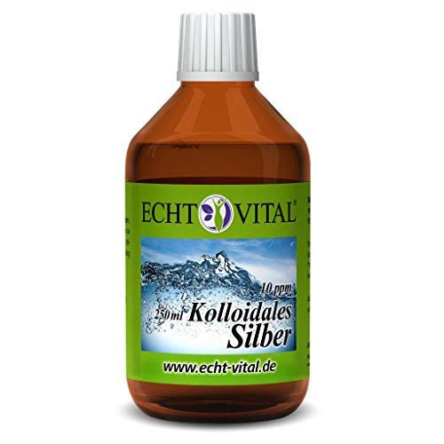 Echt Vital Kolloidales Silber 10 ppm - 1 Flasche mit 250 ml - Reinst-Silber (Reinheitsstufe 99,99%)