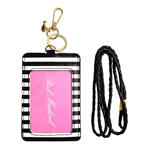 ID Clip Badge Card Holder with Lanyard and Key Ring - Black & White Stripes